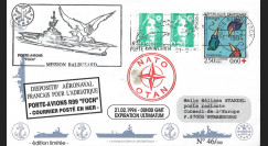 "BALB9 : 1994 FDC France ""Guerre ex-Yougoslavie - Porte-avions FOCH - Mission Balbuzard"""