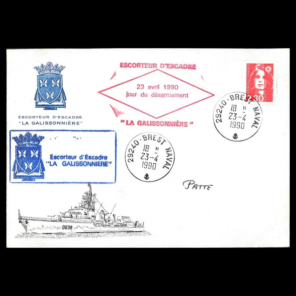 """NAV90-GAL : 1990 FDC France """"Désarmement de l'escorteur d'escadre La Galissonnière"""""""