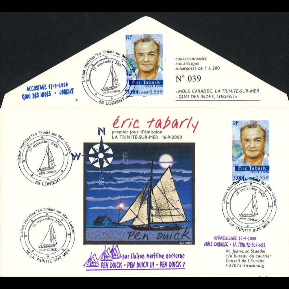 "TABARLY-001 : 2000 FDC La Trinité-sur-Mer - Lorient ""Hommage Eric TABARLY / Pen Duick"""