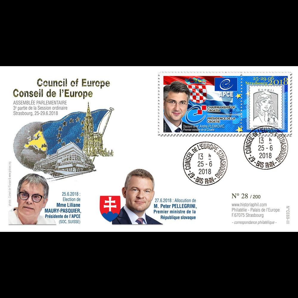 """CE69-III FDC Conseil de l'Europe """"PLENKOVIC"""