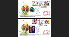"FIFA98-9S : 2 FDC CHILI-FRANCE ""Coupe du Monde FIFA France 1998 1/8 Finale Brésil-Chili"""