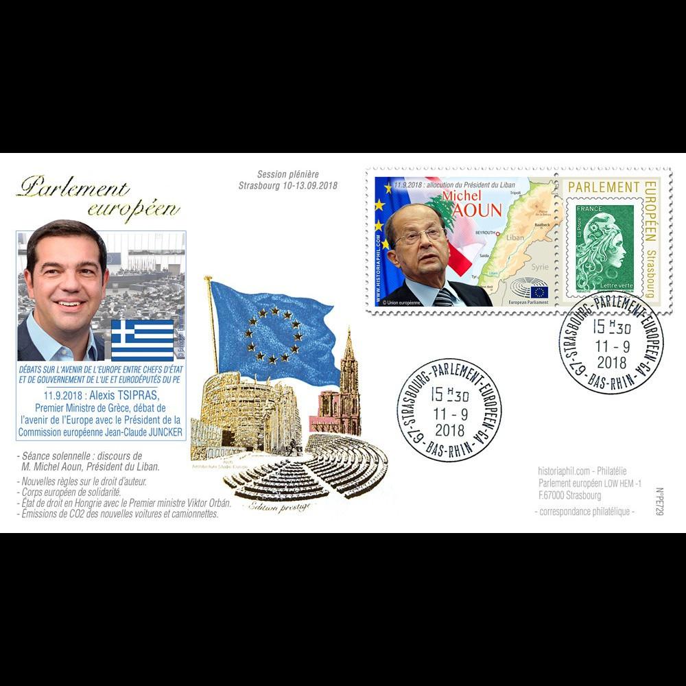 PE729 : 2018 FDC PE Discours Premier Ministre TSIPRAS (Grèce) et Président AOUN (Liban)