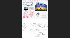 """FOOT18-1D Pli France-Russie """"Coupe du Monde 2018 Vol équipe de France"""" signé Air France"""