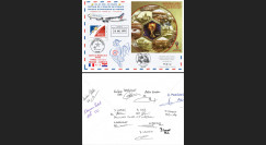 """FOOT18-2D Pli France-Russie """"Coupe du Monde 2018 Vol équipe de France"""" signé Air France"""