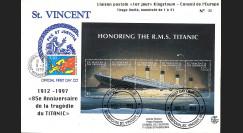 """TITANIC98-4 1997 Maxi-FDC Premier Jour St. Vincent """"85 ans du naufrage du TITANIC"""""""