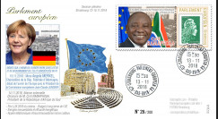 "PE732 FDC Parlement européen ""Discours Chancelière allemande Angela MERKEL / C. RAMAPHOSA"