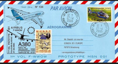 A380-9 : 2005 - Aérogramme Airbus A380 - 1er vol prototype MSN 001