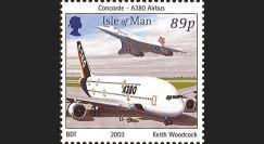 A380-11N : 2003 - Timbre-poste Ile de Man Concorde-Airbus A380