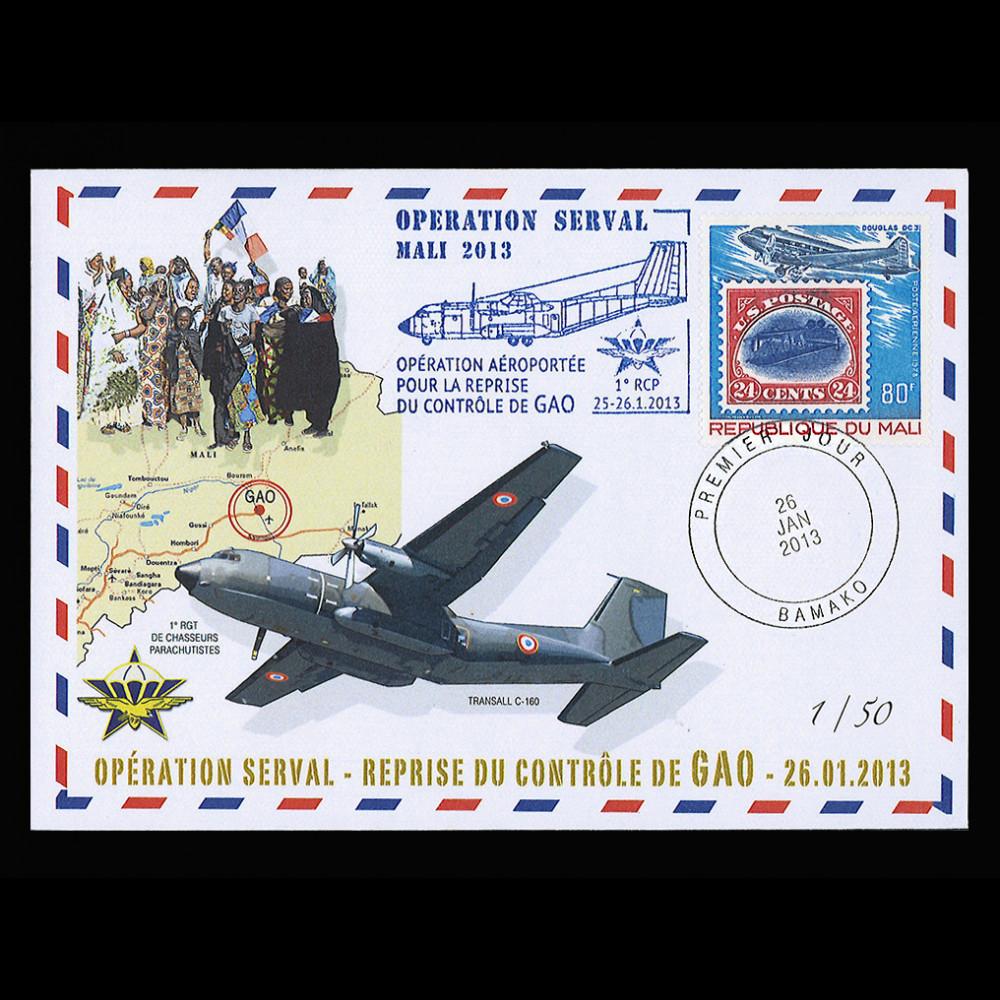 MALI13-12T1 : 2013 Opération SERVAL Mali, Raid aéroporté GAO 1°RCP TRANSALL C160