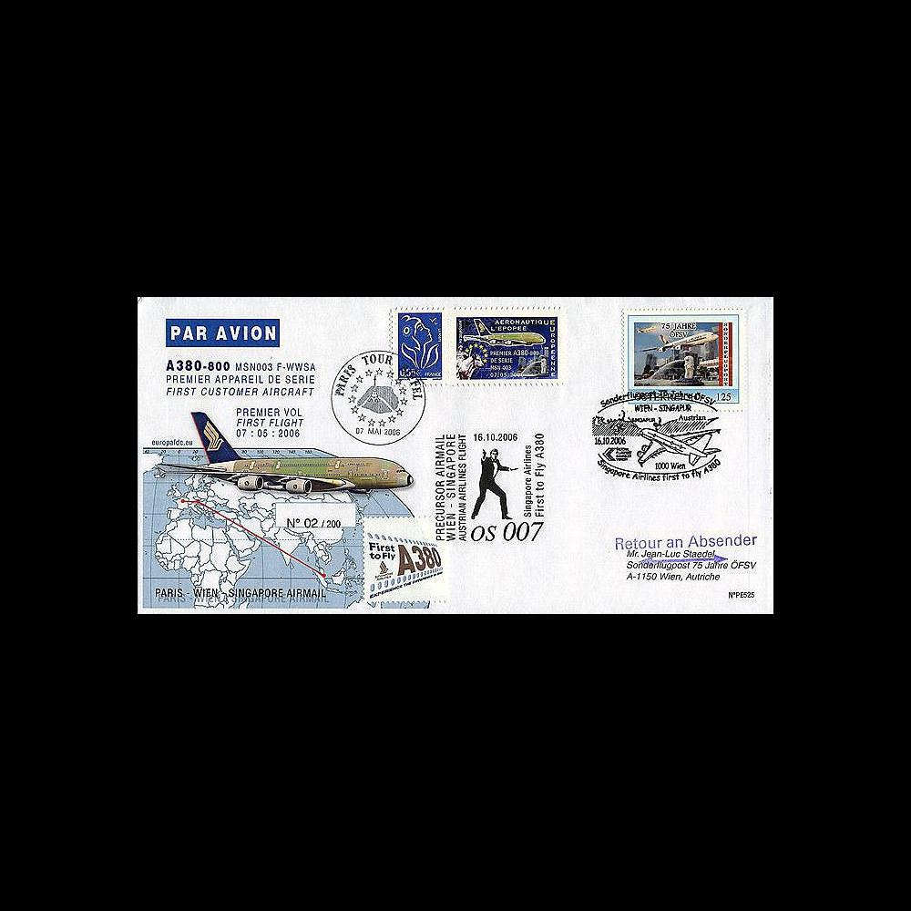 A380-25/PE525 : 2006 Courrier précurseur à destination de Singapour