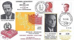 PE68 : 1984 - Conseil eur. de Bruxelles - Mitterrand et Roi Baudoin 1er