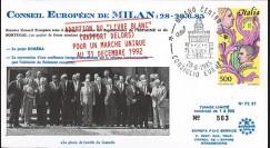 """PE97 : 1985 - FDC """"Milan - Pdt Mitterrand - Rapport Delors pour un marché unique"""""""