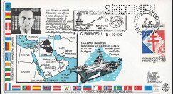 """IK1-T3 : 1990 - FDC """"Guerre du Golfe / Porte-avions CLEMENCEAU / M. MITTERRAND"""