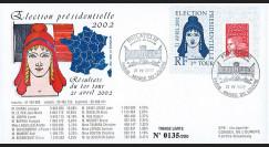 """EP02-1T1 : 2002 - FDC """"France Election Présidentielle 2002 - 1er TOUR"""" Paris Musée Louvre"""