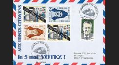 """EP02-2T1 : 2002 - FDC FDC Pro-électoral """"France Election Présidentielle - 5 Mai 2002 VOTEZ !"""""""