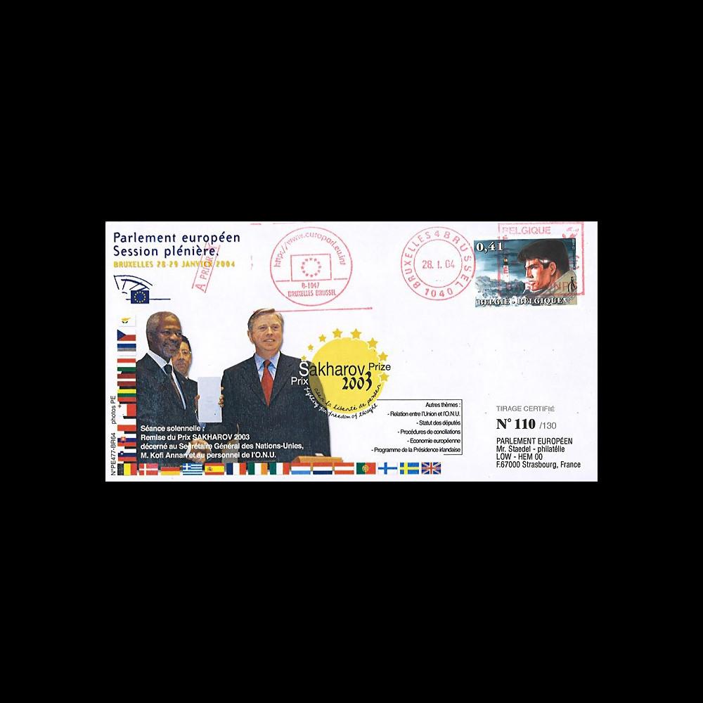 "BR64 : 2004 - FDC Parlement européen ""Remise du Prix Sakharov 2003 à l'ONU - Kofi Annan"""