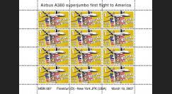 A380-42VD : 2007 - Feuillet dentelé '1er atterrissage New York JFK'