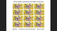 A380-42VND : 2007 - Feuillet non-dentelé '1er atterrissage à New York JFK'