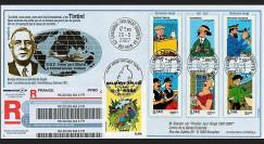 France 2007 - pli reco 'de Gaulle et Tintin - Centenaire Hergé'